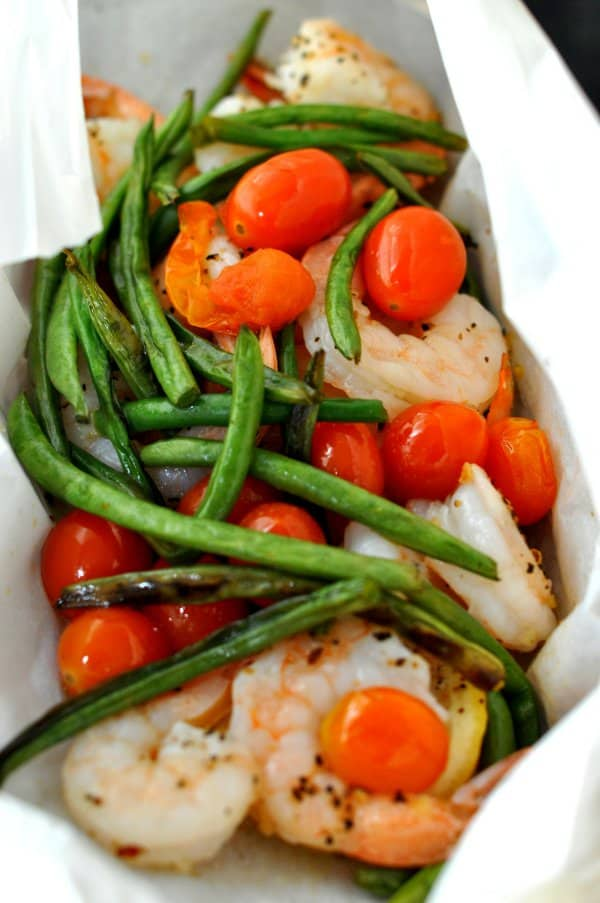 Sprimp and Veggies in Parchment Paper