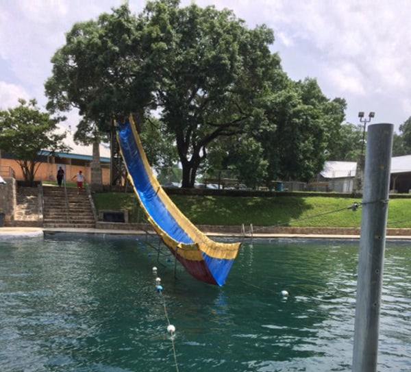 Tarp Waterslide at Geronimo Creek Retreat
