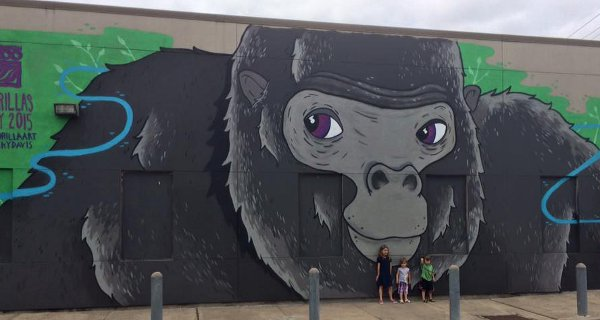 Gorilla Art Mural 3100 Smith St Artist Nicky Davis