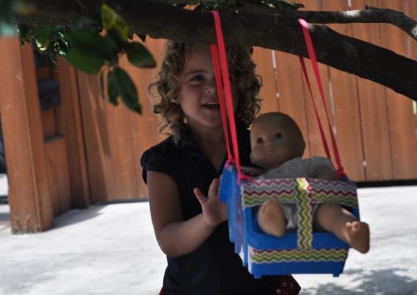 Dollar Store Supplies Used to Make Doll Swing BigKidSmallCity