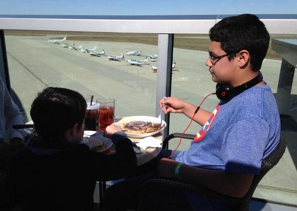 Eating at Black Walnut at Conroe Airport