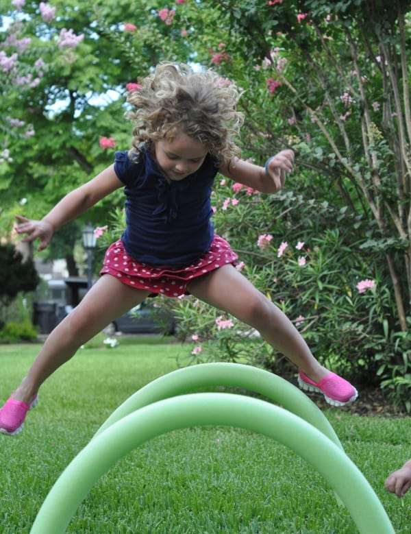 Hopping Over Hurdles Made from Dollar Store Noodles Easy to Assemble