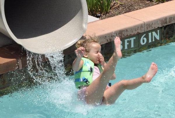 Splashing Out of Lazy River Slide