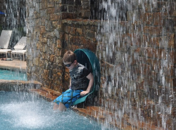 The Woodlands Resort Splashing Out of Slide BigKidSmallCity