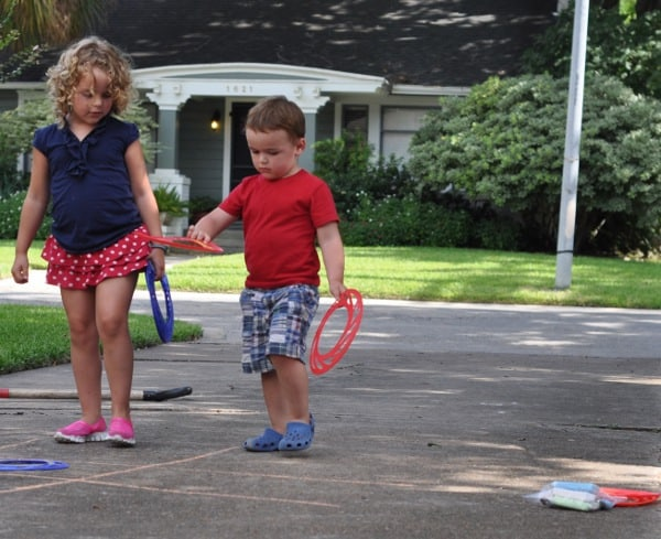 Tic Tac Toe with Dollar Store Frisbees and Chalk