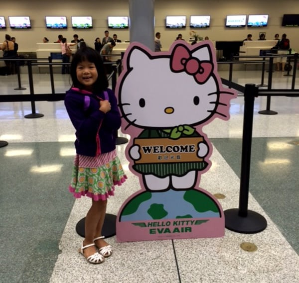 Checking in the EVA Hello Kitty counter at IAH Houston Airport BigKidSmallCity