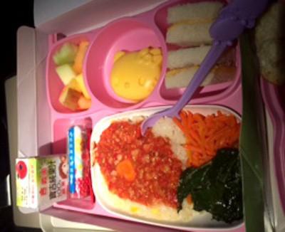 Hello Kitty Themed Kids Meal on EVA Airline Houston to Taipei BigKidSmallCity
