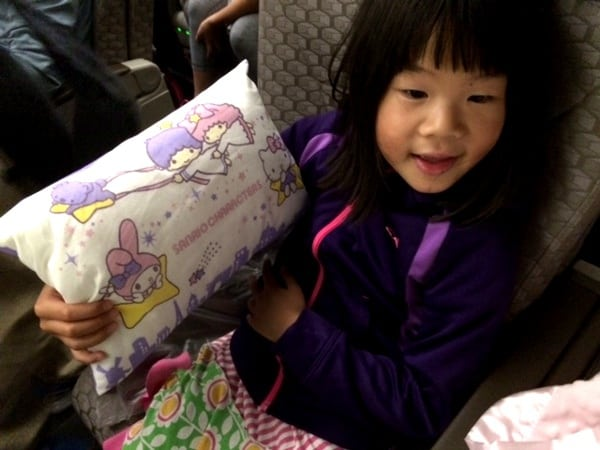 Hello kitty theme pillows on EVA Airline from Houston to Taipei BigKidSmallCity