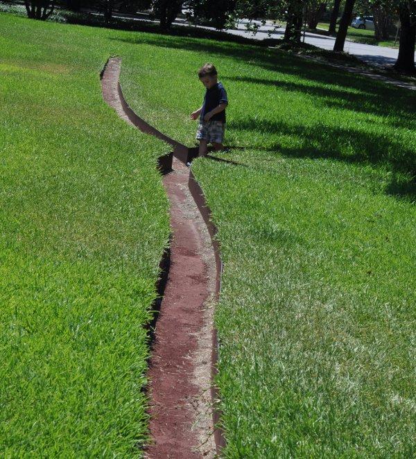 Menil Collection Walking in Maze in Yard