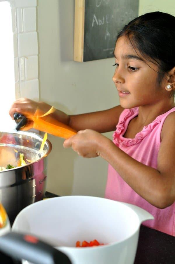 Summer Minestrone Soup Grating Vegetables