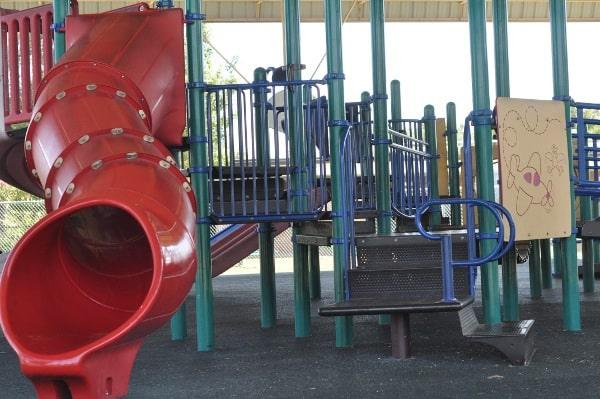 Wood Bend Spark Park Shaded Playground Slides