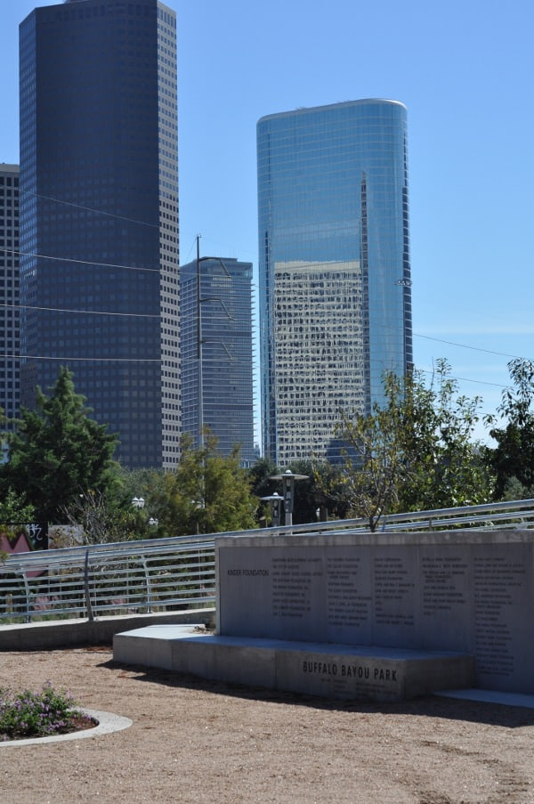 Skyline from Buffalo Bayou Park and Water Works Building