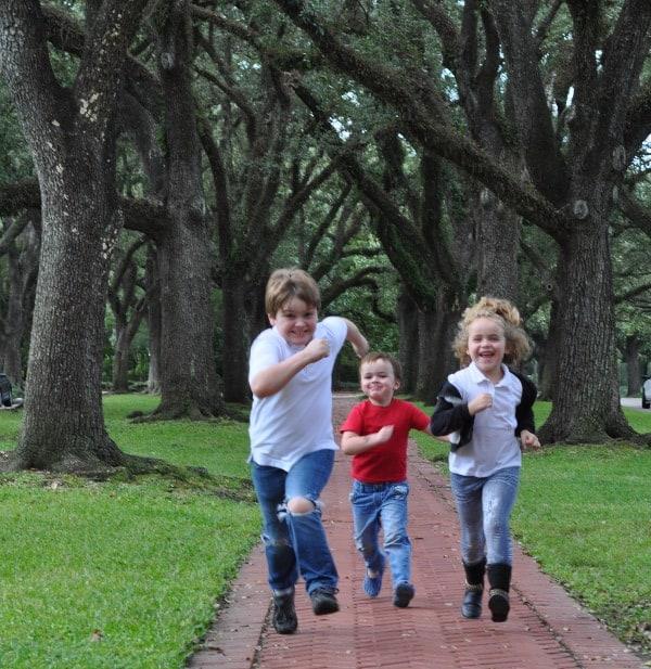 Kids Running through Big Trees in Museum District