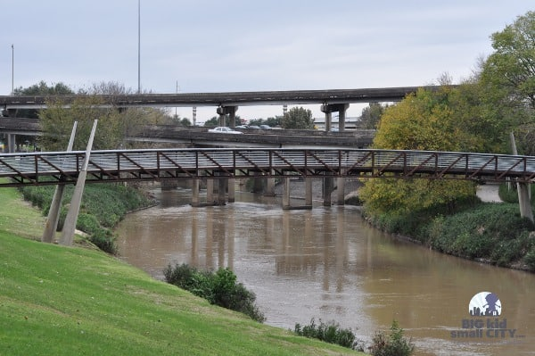 Buffalo Bayou with Bridges and Highways