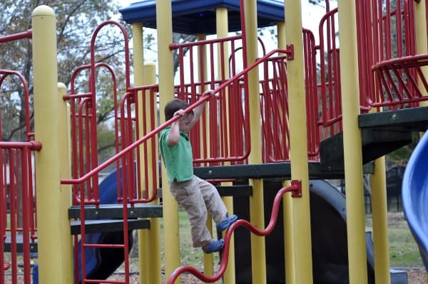 Climbing at Evergreen Park in Bellaire