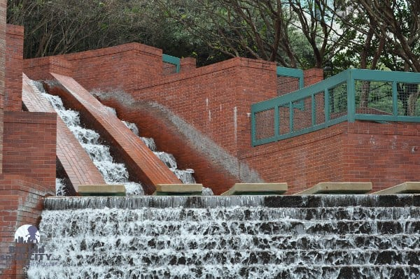 Waterfall at Wortham Theater and Buffalo Bayou