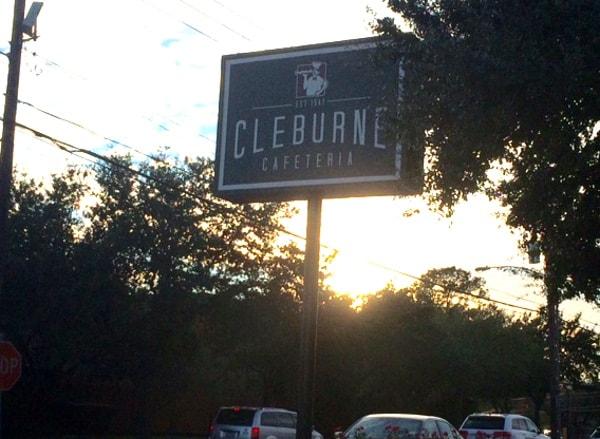 Cleburne Cafeteria Sign