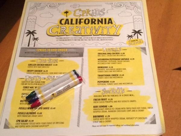 California Pizza Kitchen Kids Menu