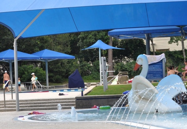 The Swan Slide And Wooded Playground Ridgewood Park Pool In Woodlands