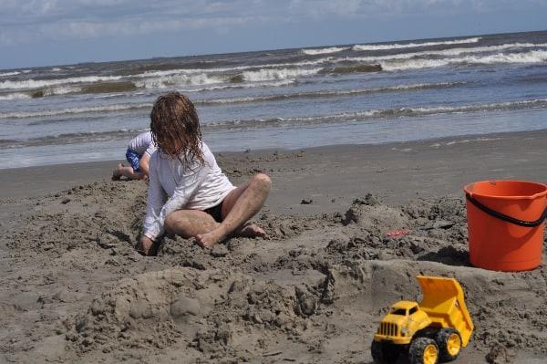 Stewart Beach in Gaveston Digging