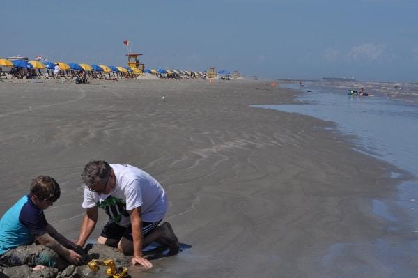East Beach Galveston Digging Papa