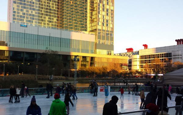 ICE at Discovery Green towards Marriott