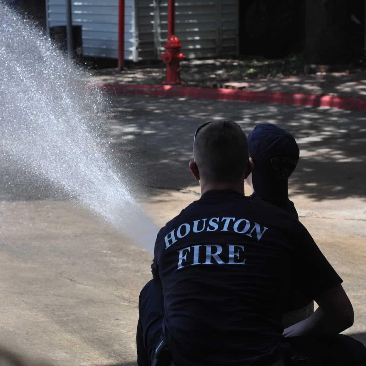 Spraying Hose at Houston Fire Station