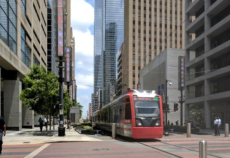 MetroRail on Main Street Houston