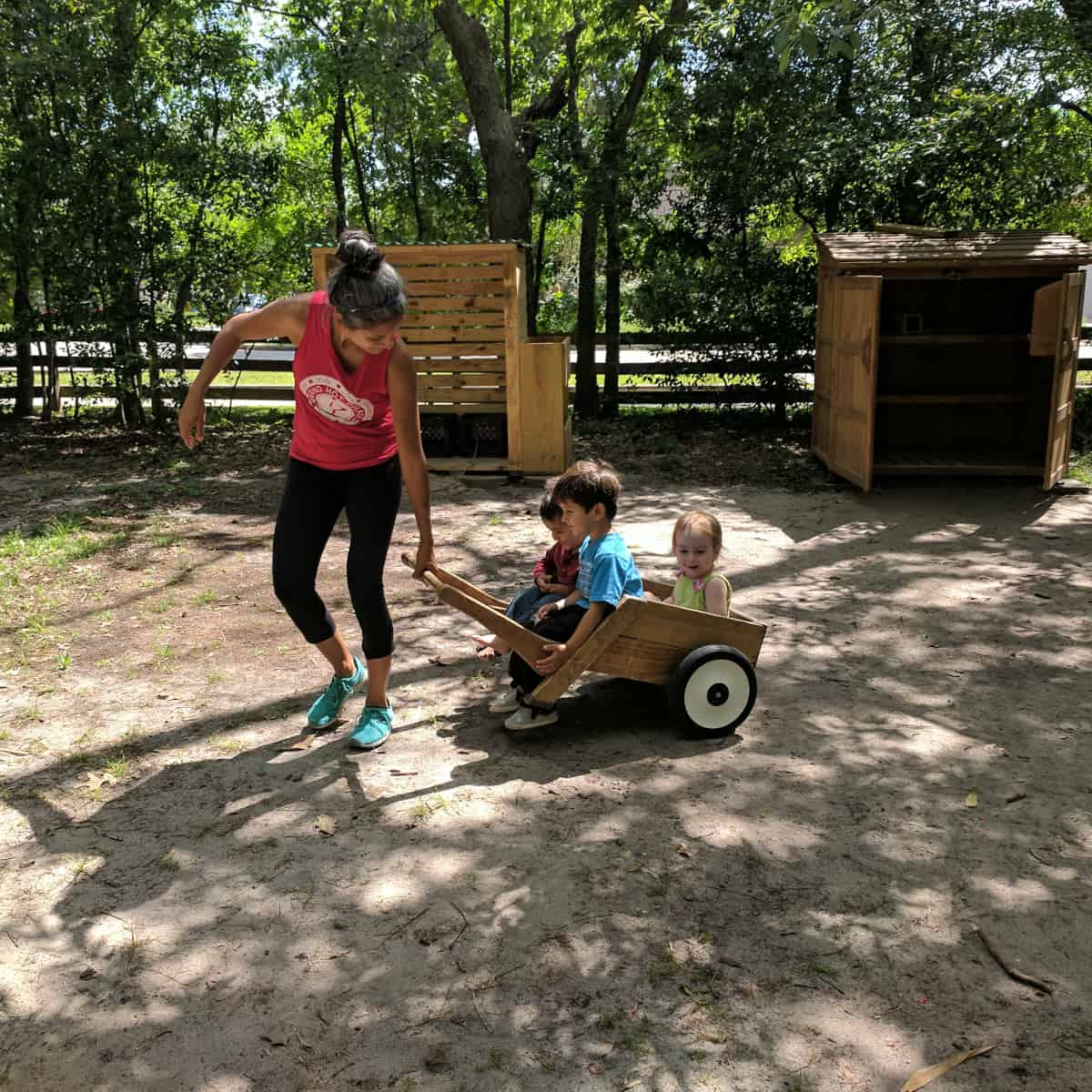 Pulling wagon at Nature Discovery Center