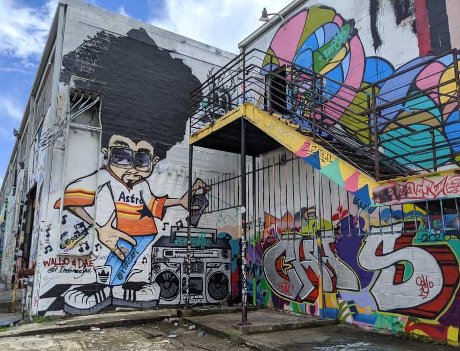 Houston Graffiti Building Steps