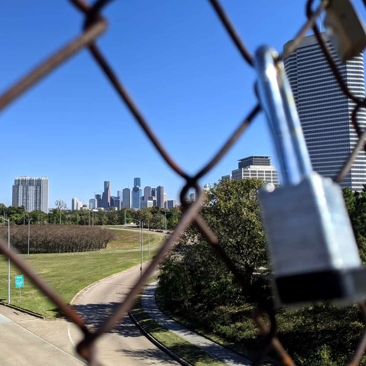 Downtown Houston Skyline from Lock Bridge