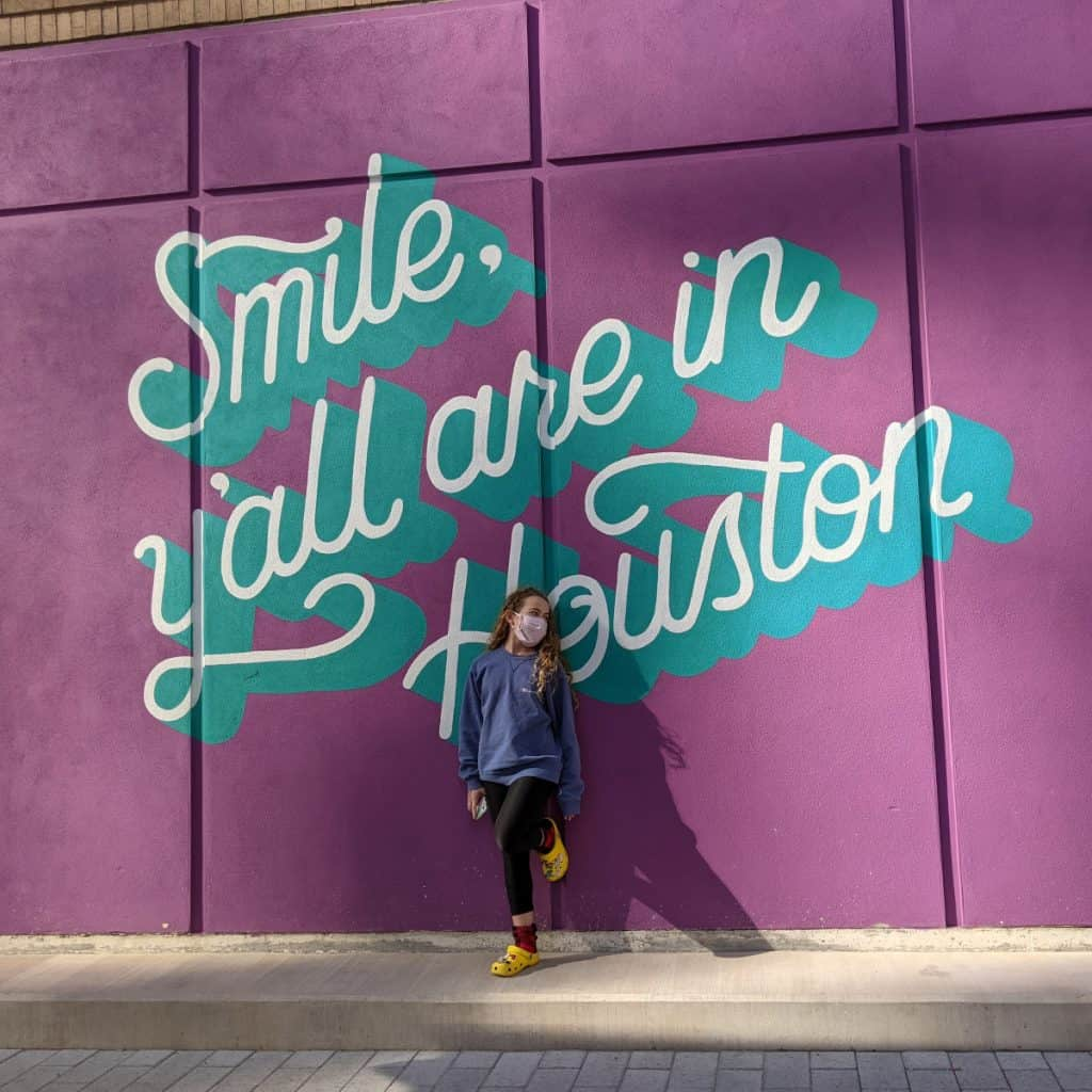 Smile Yall are in Houston Mural in Downtown Houston