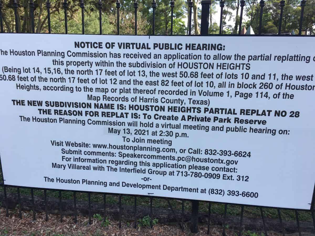 Donovan Park Hearing Sign