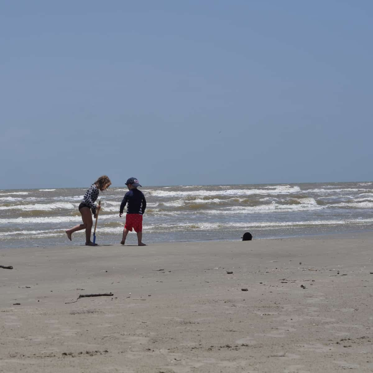 Playing on Sand at Galveston Island State Park