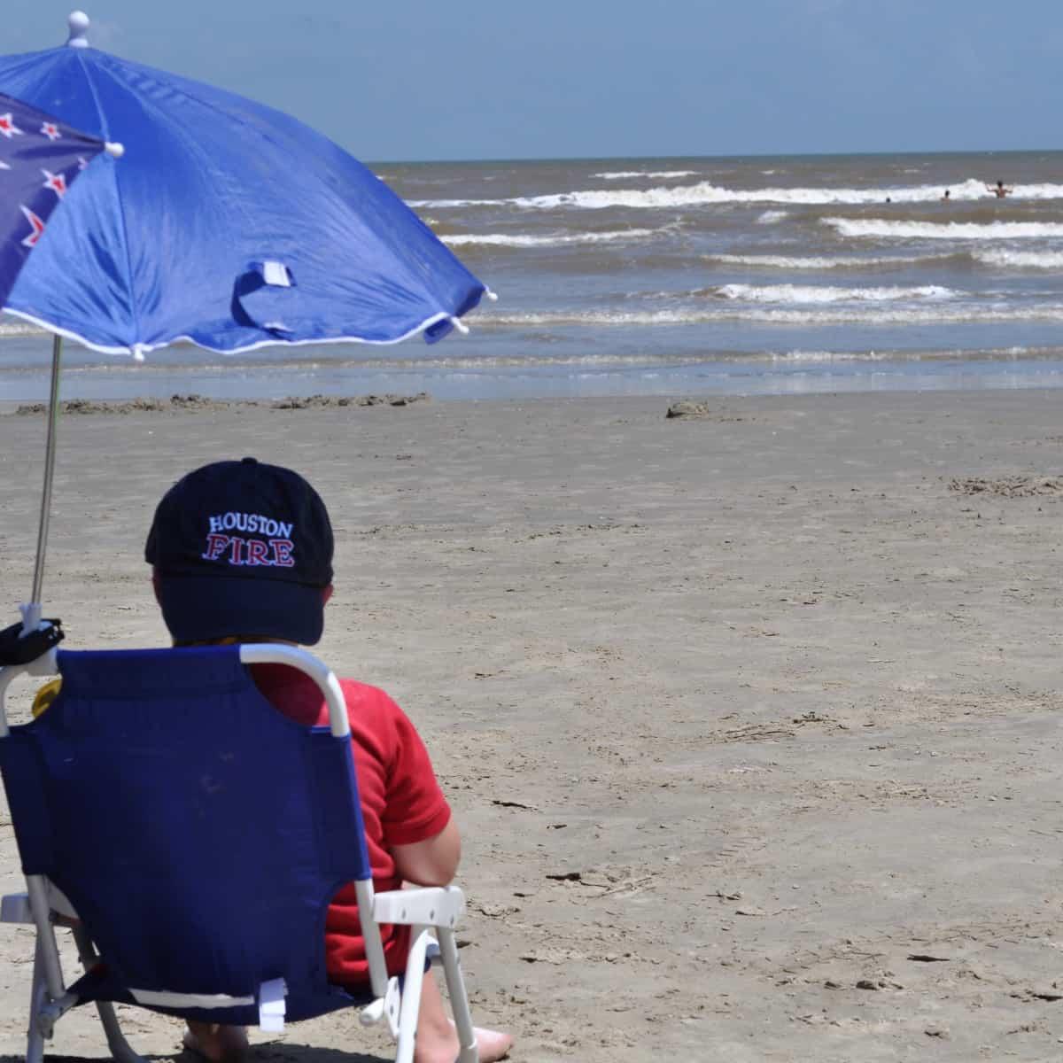 Sitting in Beach Chair at Jamaica Beach