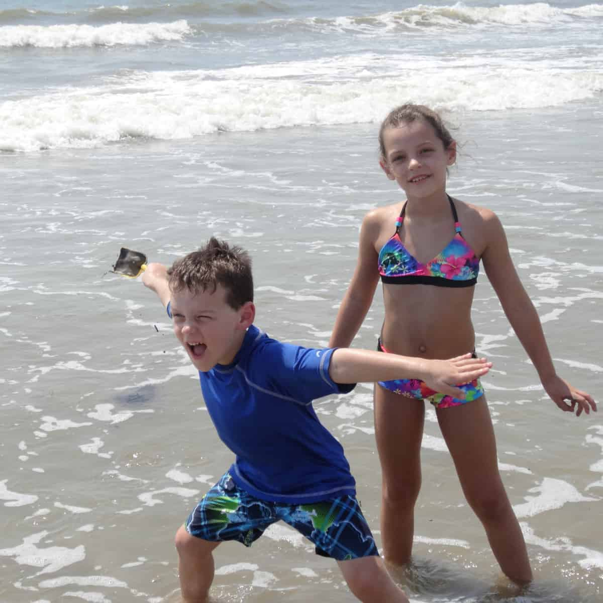 Playing at Surfside Beach