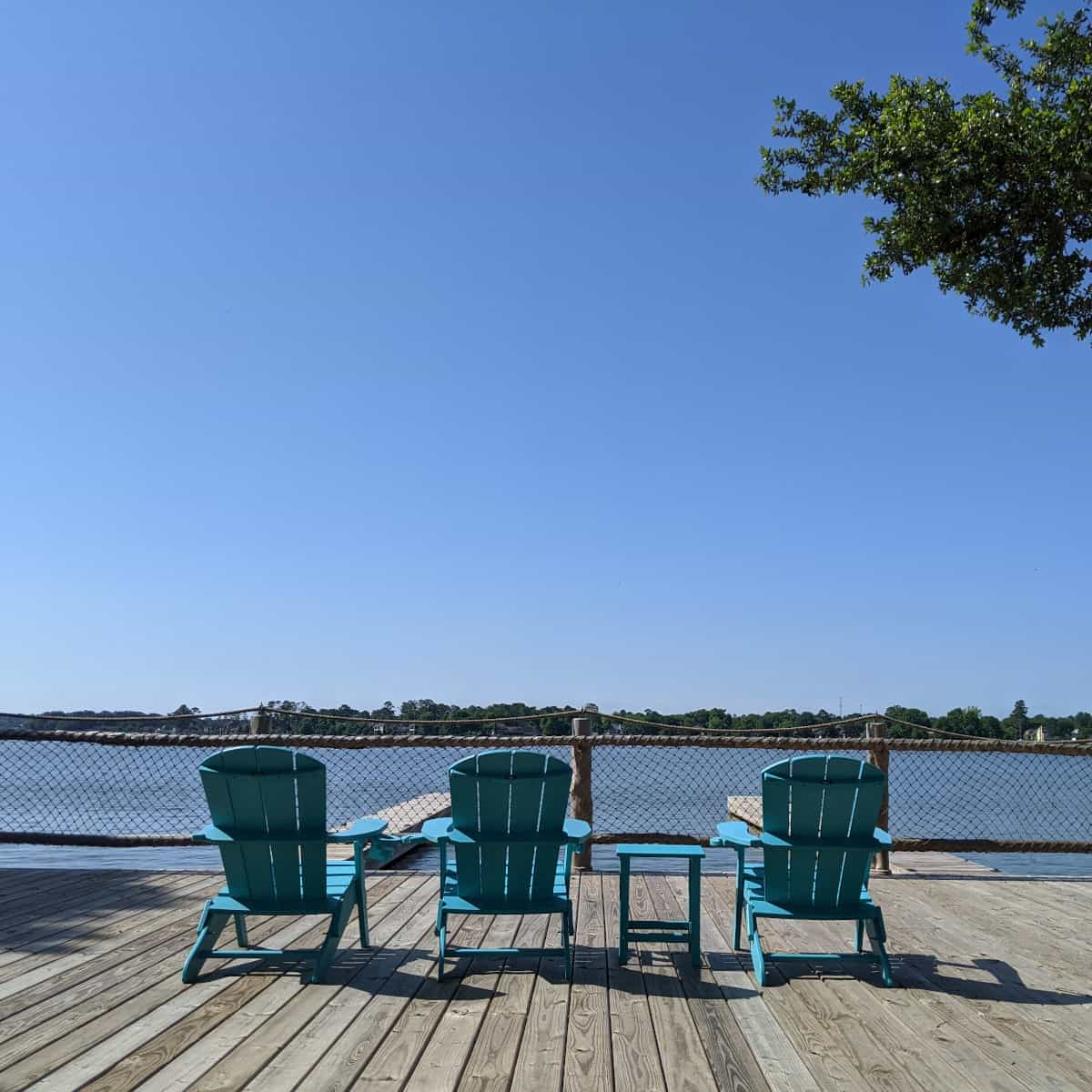 Chairs on Lake Conroe