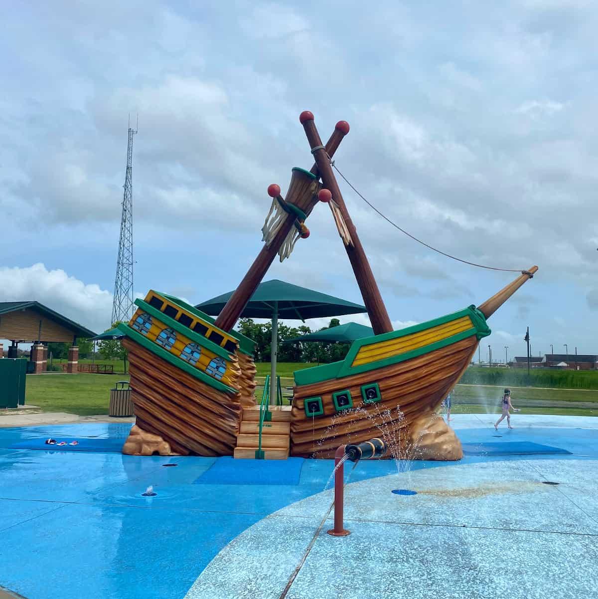 Mont Belvieu City Park Pirate Ship Splashpad