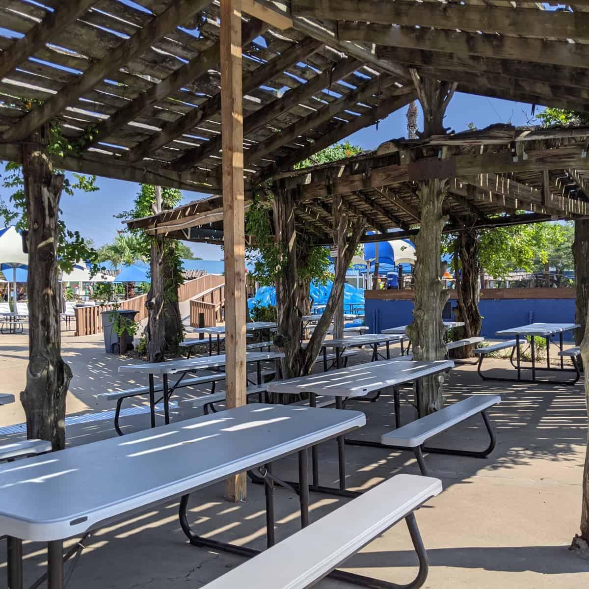 Splashway Waterpark Shaded Tables