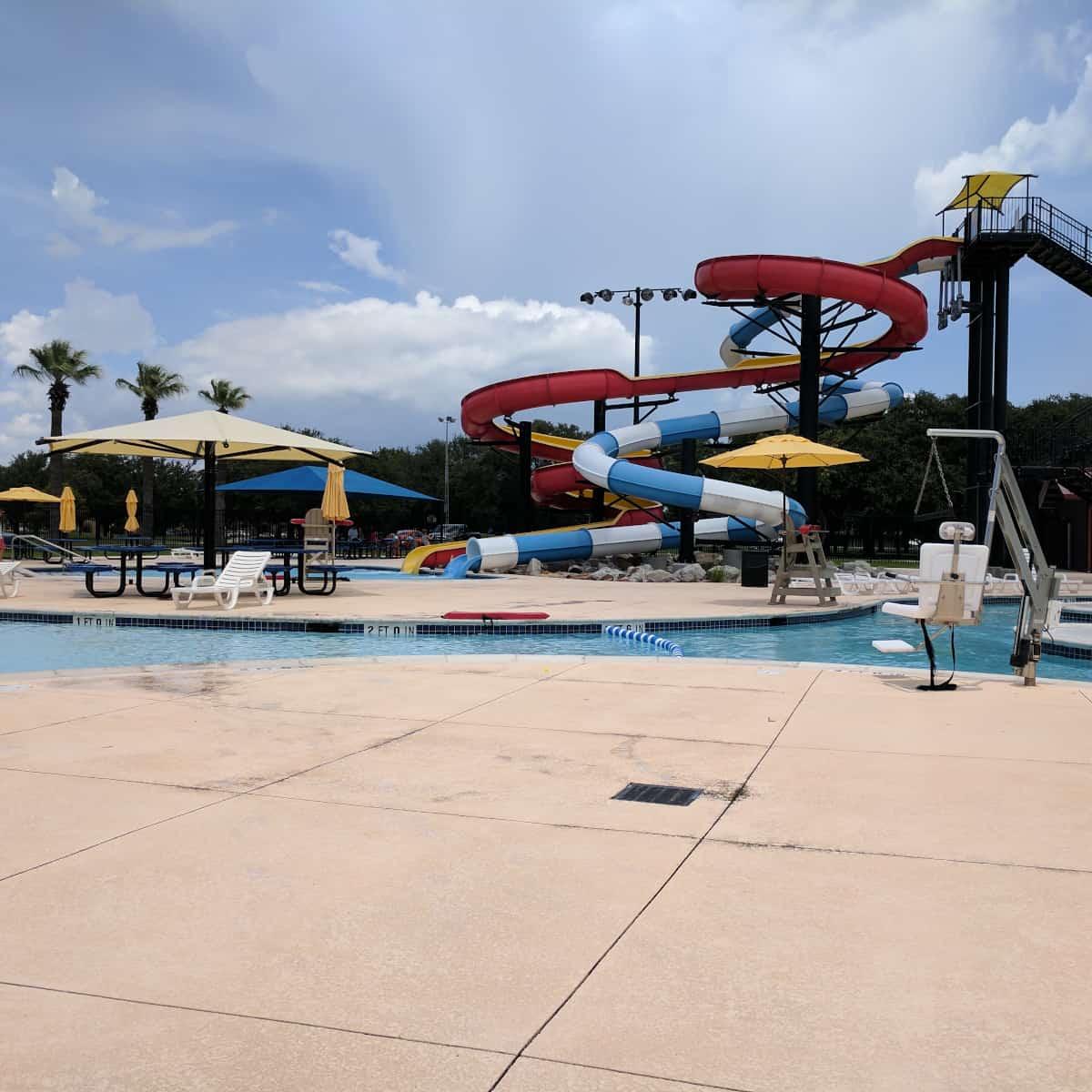 Nessler Pool Texas City waterpark big slides