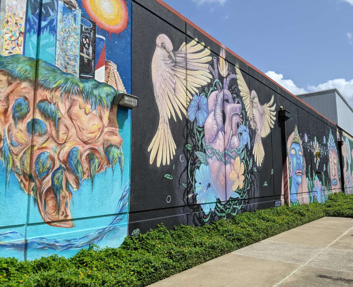 Wall of murals at TBH Houston