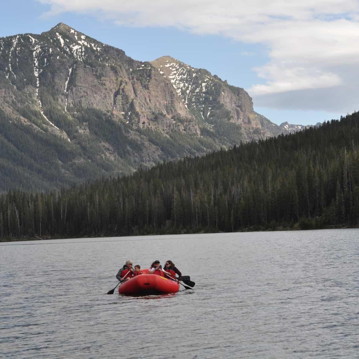 Raft on Hyalite Lake Montana
